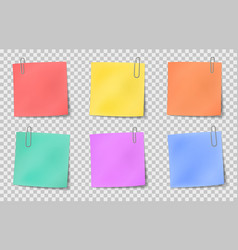 Note sticky color paper notes attached vector