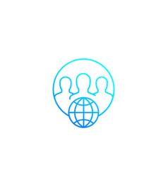 Online community line icon vector