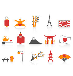 orange red color series japanese icons set vector image