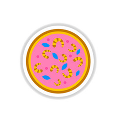 Pizza with shrimps simple vector