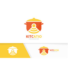 pot and wifi logo combination kitchen and vector image
