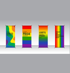 Pride lgbtq roll up set standee design vector