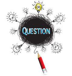 red pencil idea concept blue question education vector image