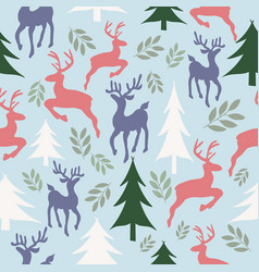 reindeers and christmas trees seamless pattern vector image