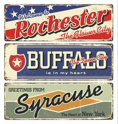 rochester buffalosyracuse new york state vector image