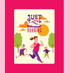 run lettering just keep running shoes marathon vector image