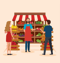 Salesman in natural store with man and woman vector