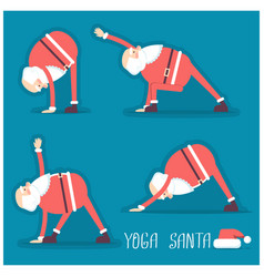 santa claus doing yoga isolated vector image