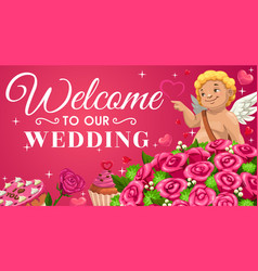 save date wedding invitation cupid flowers vector image