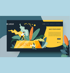 Save money concept gold bar online web page vector
