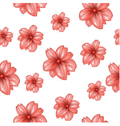 Seamless pattern with pink flowers on the white vector