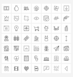 Set 49 simple line icons for web and print vector