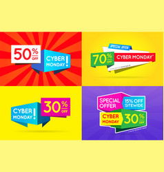 set cyber monday sale signs banners posters vector image