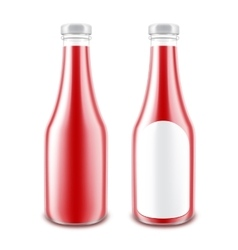 Set of Red Tomato Ketchup Bottle without label vector image