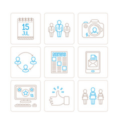 set of social networking icons and concepts in vector image
