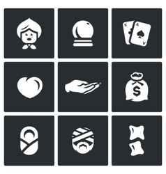 Set of The Seer and Healer Icons Grandma vector