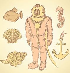 Sketch vintage diving suit and sea creatures vector image