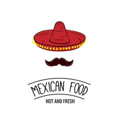Sombrero and mustache mexican food badge vector