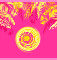 Summery t-shirt print with yellow palm leaves vector
