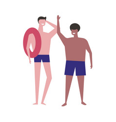 swimming boys summer hobby of people of athletic vector image