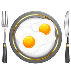 Tableware breakfast egge vector