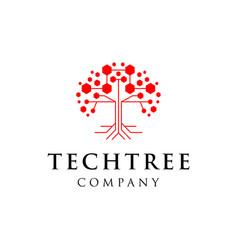 Tech tree logo design vector