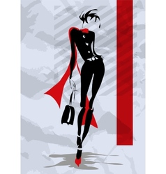 The fashionable woman goes down the street vector