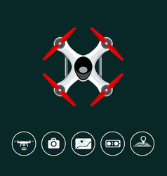top view drone with icons vector image
