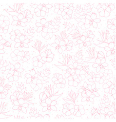 Tropical pattern with orchid hibiscus flowers vector