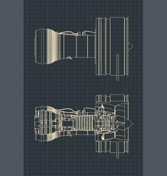 Turbofan jet engine drawings vector