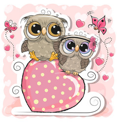 Two owls is sitting on a heart on a pink vector