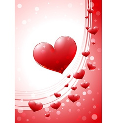 Valentine card with glossy heart vector