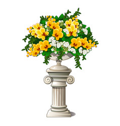 vintage marble vase with flowers in form an vector image