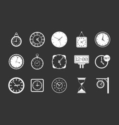 wall clock icon set grey vector image
