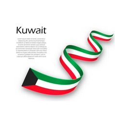 Waving ribbon or banner with flag of kuwait vector