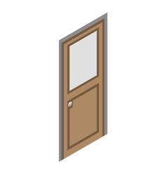 wood door icon isometric style vector image