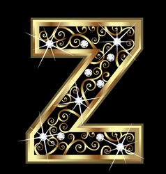 Z gold letter with swirly ornaments vector image