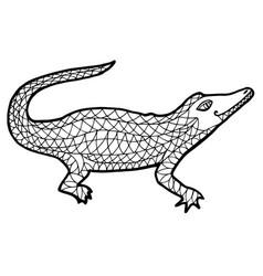 alligator zen tangle crocodile vector image