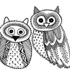 Decorative Hand drawn Cute Owl Sketch Doodle black vector image
