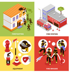 isometric firefighter 2x2 concept vector image vector image