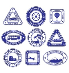 Set of scratched stamps on travel and tourism vector image