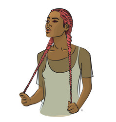 a girl with long pink hair braided in braids vector image