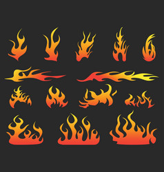 abstract color fire patterns on black background vector image vector image