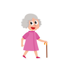 adult woman walks happily with cane in hand vector image vector image
