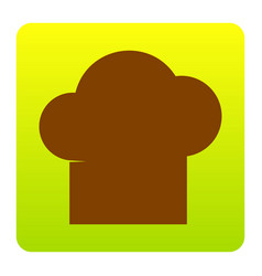 chef cap sign brown icon at green-yellow vector image