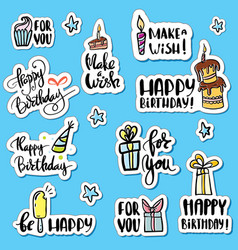 happy birthday sticker set cartoon collection vector image vector image