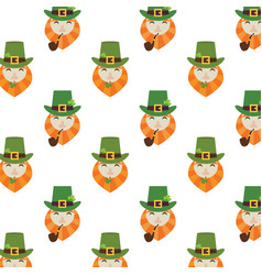 holiday seamless pattern with leprechaun hat and vector image