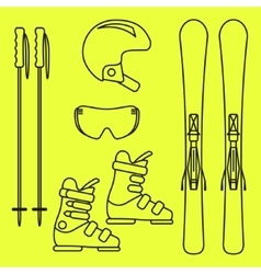 Ski gear line icon set vector image vector image