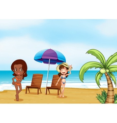 Two ladies wearing bikinis at the beach vector image vector image