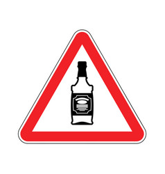 attention alcohol bottle of whiskey on red vector image vector image